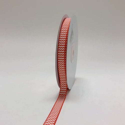 Orange - Chevron Design Grosgrain Ribbon ( 3/8 inch | 25 Yards )