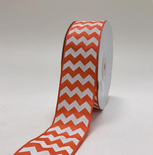 Orange - Chevron Design Grosgrain Ribbon ( 1-1/2 inch | 25 Yards )