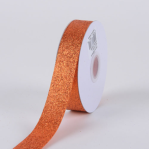 Orange - Metallic Glitter Ribbon - ( 5/8 Inch 25 Yards )