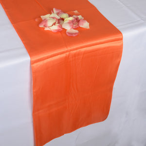 12 inch x 108 inches Orange Satin Table Runner