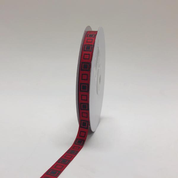 Red with Black - Square Design Grosgrain Ribbon ( 3/8 inch | 25 Yards )