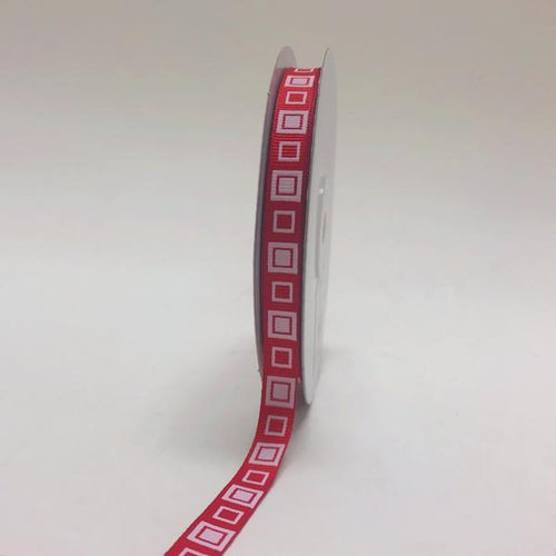 Red - Square Design Grosgrain Ribbon ( 3/8 inch | 25 Yards )