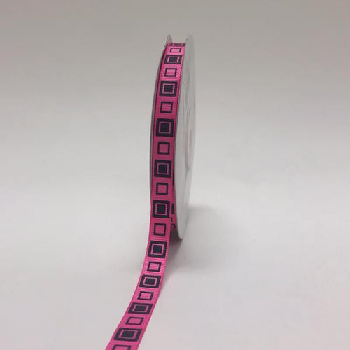 Hot Pink with Black - Square Design Grosgrain Ribbon ( 3/8 inch | 25 Yards )