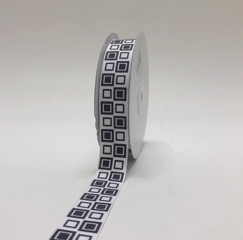 White - Square Design Grosgrain Ribbon ( 7/8 inch | 25 Yards )