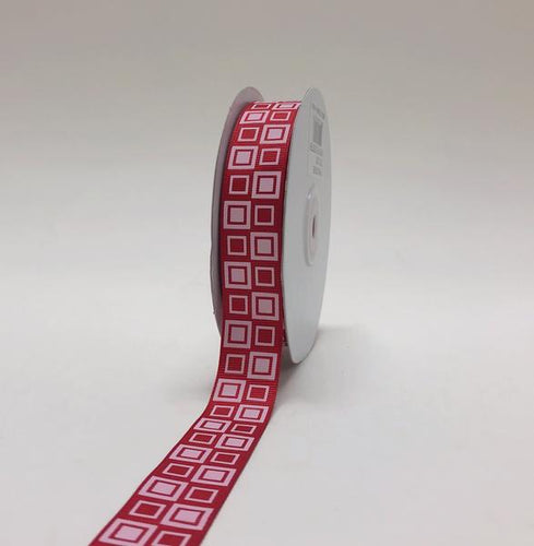 Red - Square Design Grosgrain Ribbon ( 7/8 inch | 25 Yards )