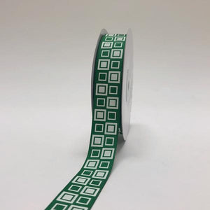 Emerald - Square Design Grosgrain Ribbon ( 7/8 inch | 25 Yards )