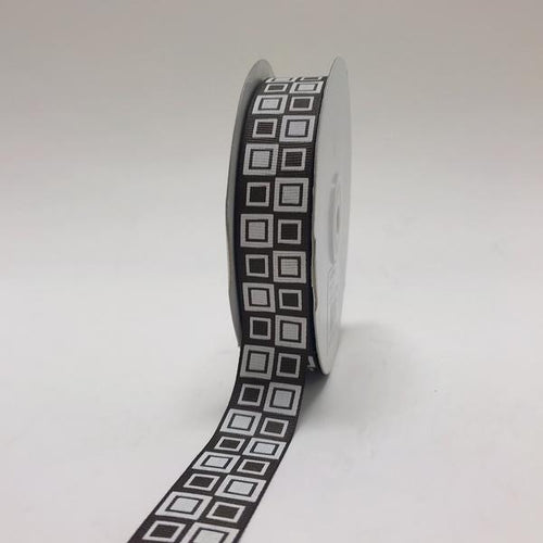 Brown - Square Design Grosgrain Ribbon ( 7/8 inch | 25 Yards )