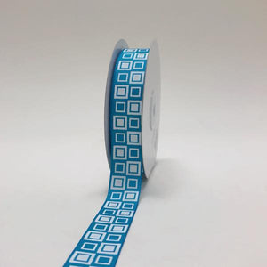 Turquoise - Square Design Grosgrain Ribbon ( 7/8 inch | 25 Yards )
