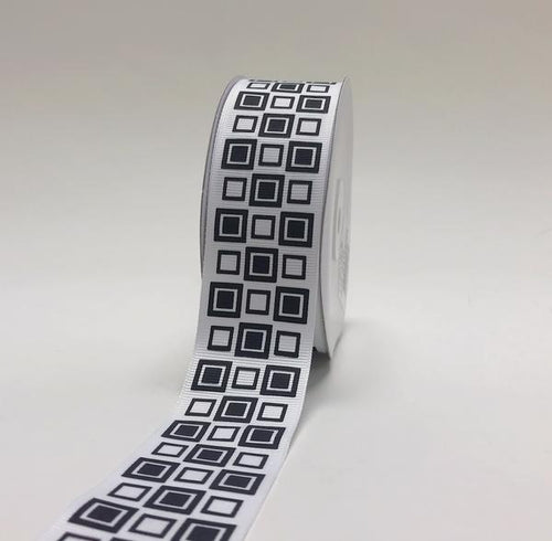 White - Square Design Grosgrain Ribbon ( 1-1/2 inch | 25 Yards )