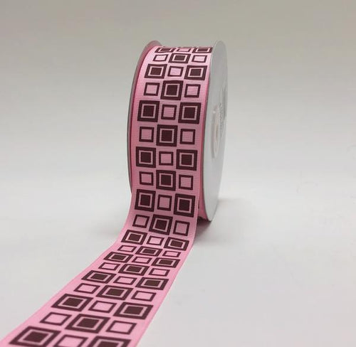 Light Pink with Brown - Square Design Grosgrain Ribbon ( 1-1/2 inch | 25 Yards )