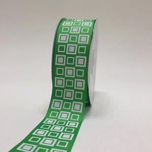 Apple Green - Square Design Grosgrain Ribbon ( 1-1/2 inch | 25 Yards )
