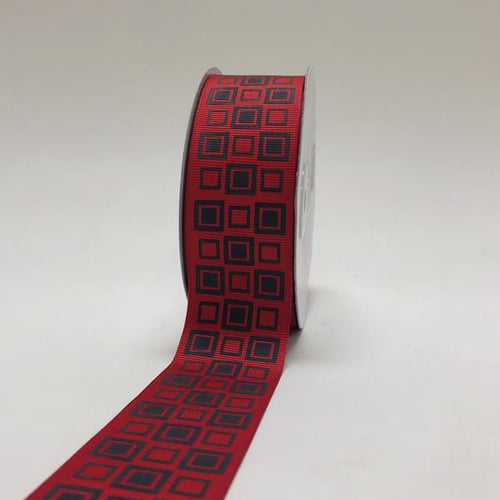 Red with Black - Square Design Grosgrain Ribbon ( 1-1/2 inch | 25 Yards )