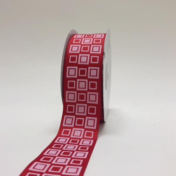 Red - Square Design Grosgrain Ribbon ( 1-1/2 inch | 25 Yards )