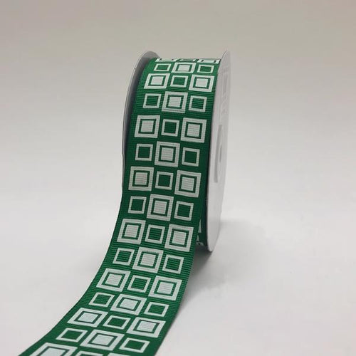 Emerald - Square Design Grosgrain Ribbon ( 1-1/2 inch | 25 Yards )