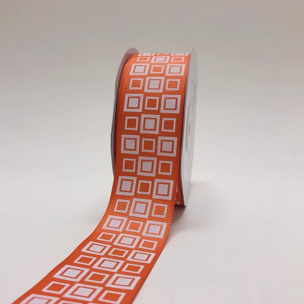 Orange - Square Design Grosgrain Ribbon ( 1-1/2 inch | 25 Yards )