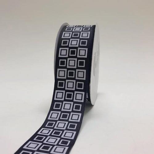 Black - Square Design Grosgrain Ribbon ( 1-1/2 inch | 25 Yards )