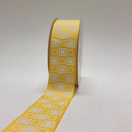 Yellow - Square Design Grosgrain Ribbon ( 1-1/2 inch | 25 Yards )