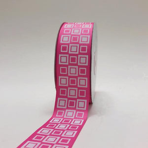 Hot Pink - Square Design Grosgrain Ribbon ( 1-1/2 inch | 25 Yards )