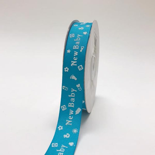 Turquoise - New Baby - Grosgrain Ribbon Baby  Design ( W: 7/8 inch | L: 25 Yards )