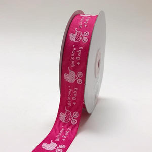 Fuchsia - Welcome Baby - Grosgrain Ribbon Baby  Design ( W: 7/8 inch | L: 25 Yards )