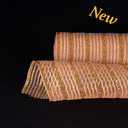 Gold Metallic Lines Burlap Mesh ( 10 Inch x 10 Yards )