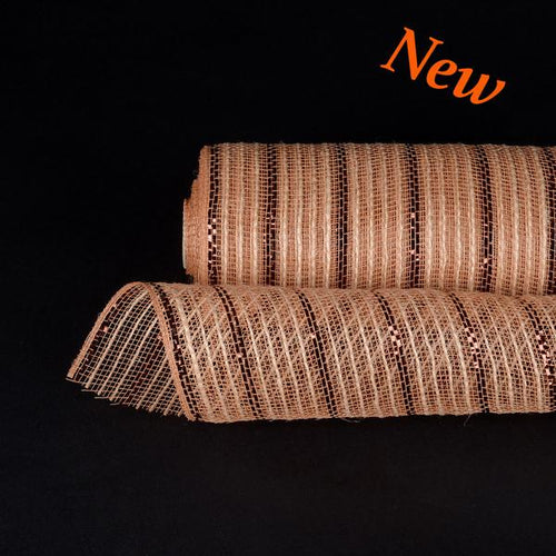 Brown Metallic Lines Burlap Mesh ( 10 Inch x 10 Yards )