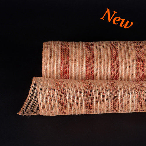 Orange Metallic Stripes Burlap Mesh ( 10 Inch x 10 Yards )