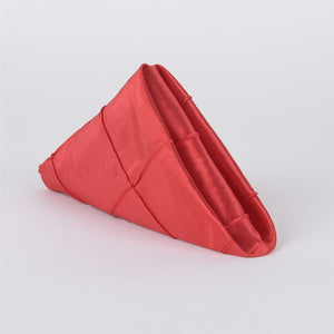 Red - 17 x 17 inch Pintuck Satin Table Napkins ( 5 Pieces )
