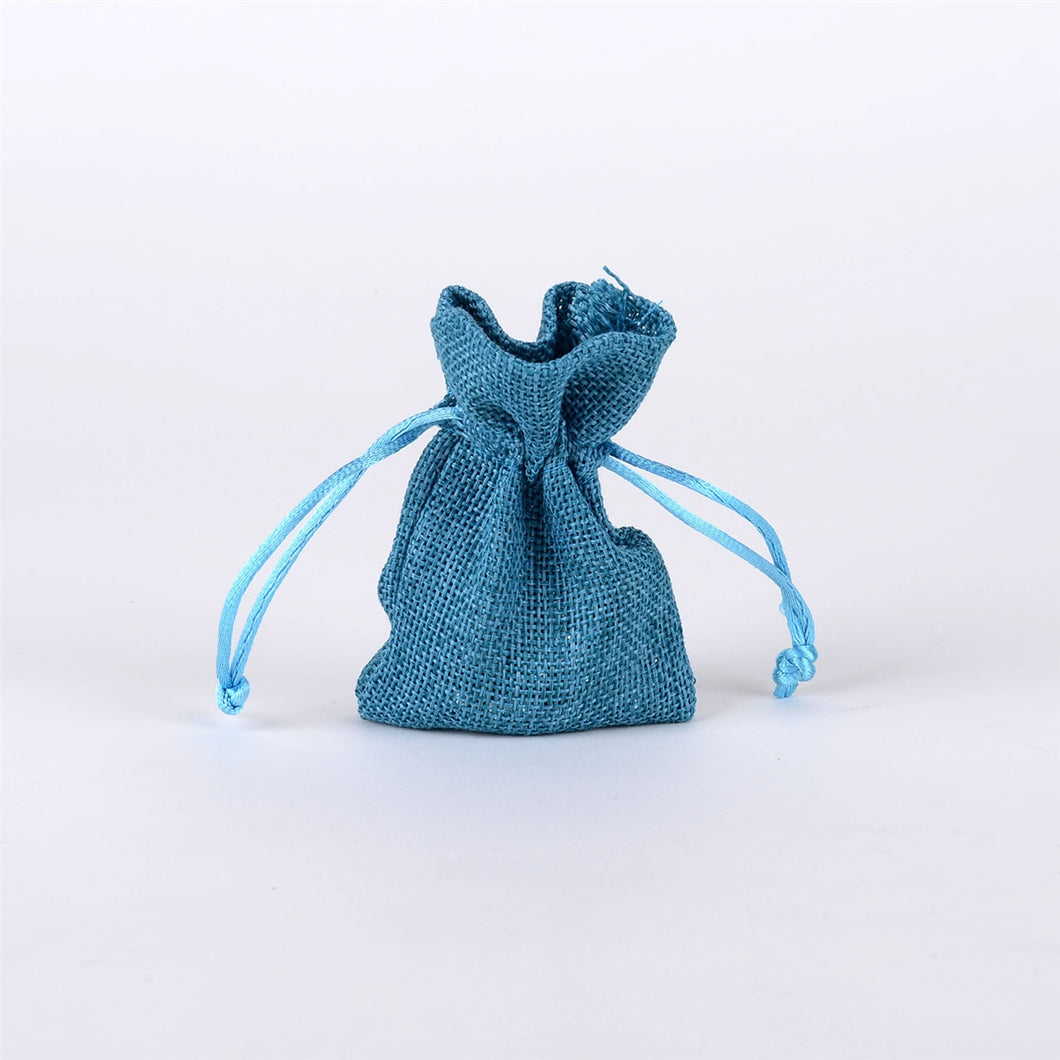 3x4 inch - 6 bags Turquoise Faux Burlap Bags
