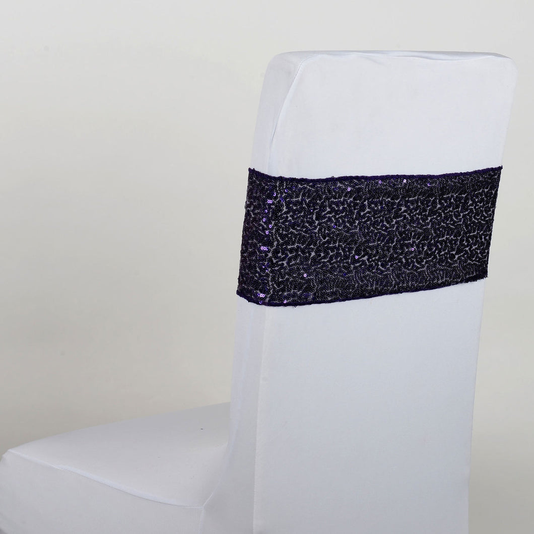 Sequin Chair Sash - Purple  5 pieces