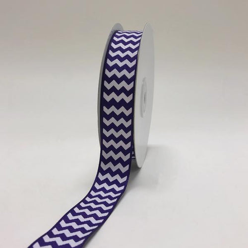 Purple - Chevron Design Grosgrain Ribbon ( 7/8 inch | 25 Yards )