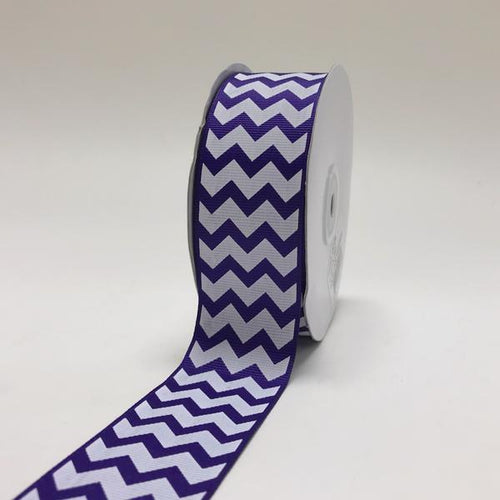 Purple - Chevron Design Grosgrain Ribbon ( 1-1/2 inch | 25 Yards )