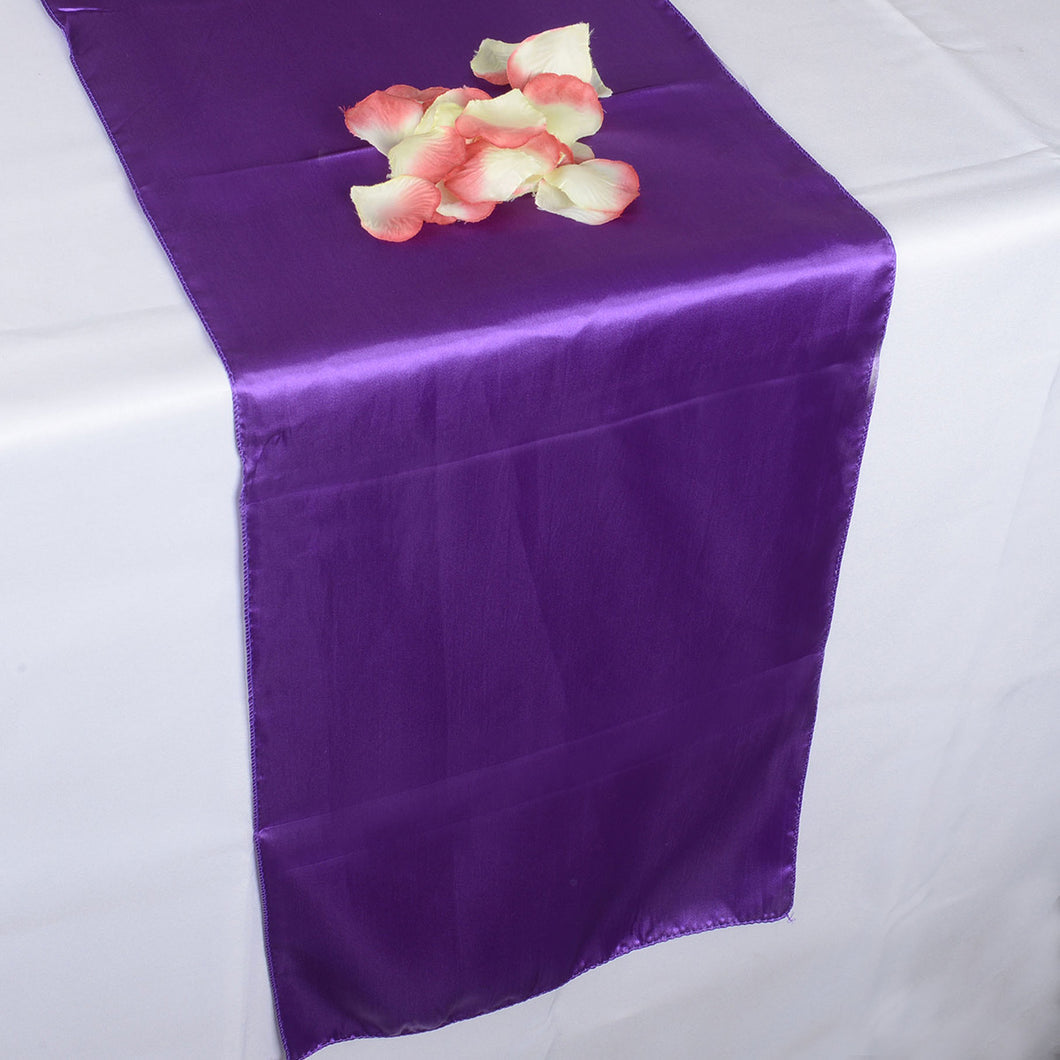 12 inch x 108 inches Purple Satin Table Runner