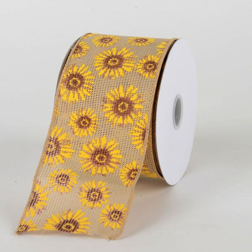 Natural Faux Burlap Sunflowers Ribbon ( W: 2-1/2 inch | L: 10 Yards)