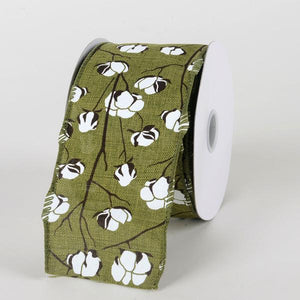 Spring Moss - Canvas Cotton Branches Ribbon ( W: 2-1/2 inch | L: 10 Yards)