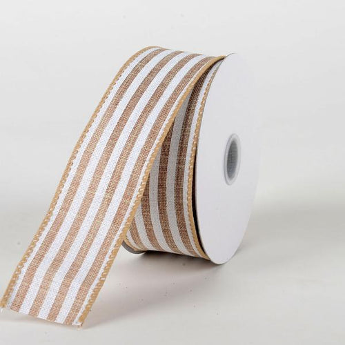 Natural White - Natural Burlap Ribbon Cabana Stripes ( W: 1-1/2 inch | L: 10 Yards )