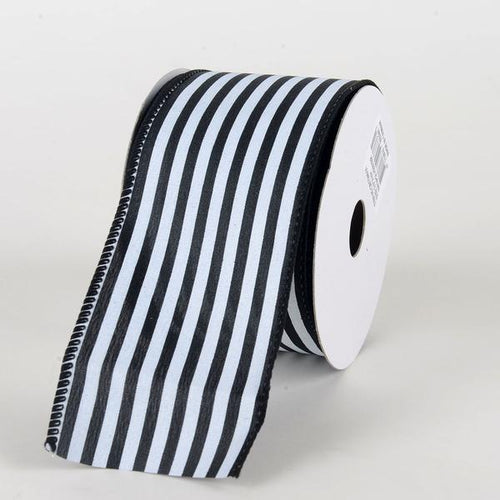 Black White - Cabana Striped Satin Ribbon - ( W: 2-1/2 inch | L: 10 Yards )