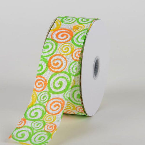 White Canvas Lime Orange Yellow Swirls Ribbon ( 1-1/2 Inch x 10 Yards )