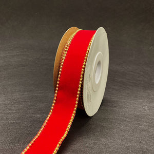 Christmas Ribbon Red Velvet with beads Edge ( 1-1/2 Inch x 10 Yards ) - RQC380310