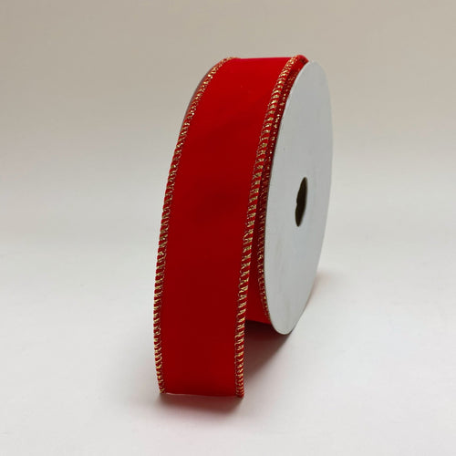 Christmas Ribbon Red Velvet with Gold Edge ( 1-1/2 Inch x 10 Yards ) - RQC380311