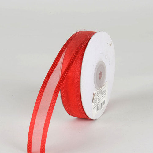 Red - Organza Check Edge Ribbon - (  7/8 Inch | 25 Yards  )