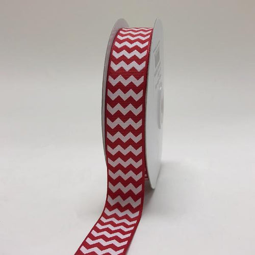Red - Chevron Design Grosgrain Ribbon ( 7/8 inch | 25 Yards )