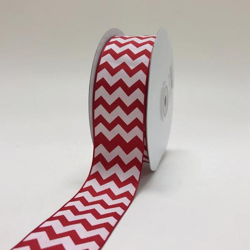 Red - Chevron Design Grosgrain Ribbon ( 1-1/2 inch | 25 Yards )