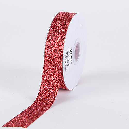 Red - Metallic Glitter Ribbon - ( 5/8 Inch 25 Yards )