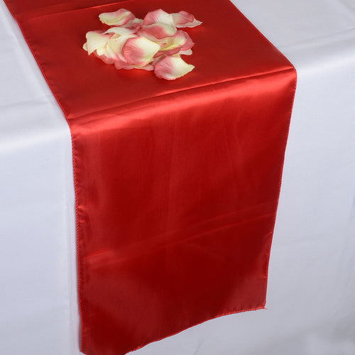 12 inch x 108 inches Red Satin Table Runner