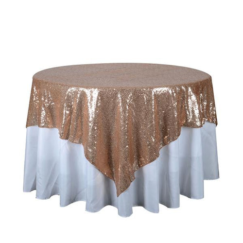 Rose Gold 72 Inch x 72 Inch Square Duchess Sequin Overlay