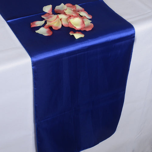 12 inch x 108 inches Royal Blue Satin Table Runner