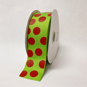 Grosgrain Ribbon Jumbo Dots Apple Green with Red Dots ( W: 1-1/2 inch | L: 25 Yards )