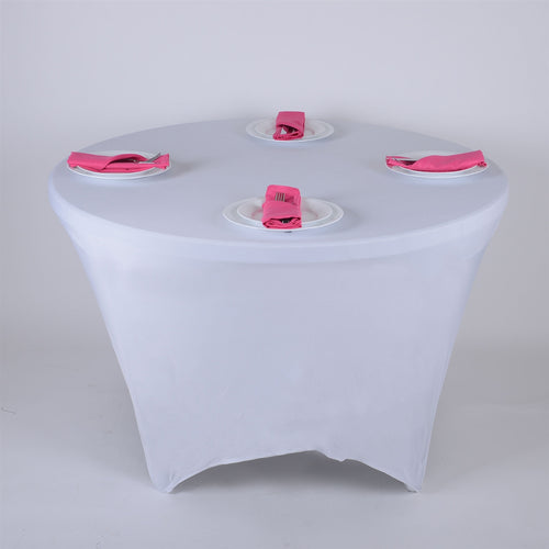 White 8 Seat Spandex Round Tablecloths