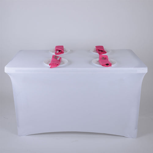 White 8 Ft Spandex Rectangular Table Cover